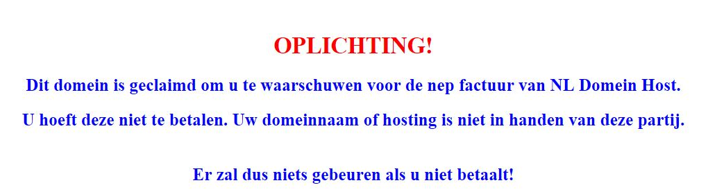 NL Domein Host website