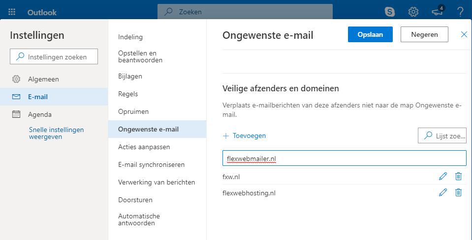 Outlook.com - Veilige afzenders - Lijst bekijken