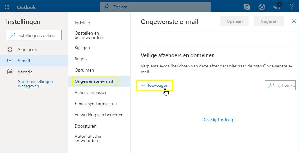 Outlook.com - Veilige afzenders - Toevoegen aan lijst